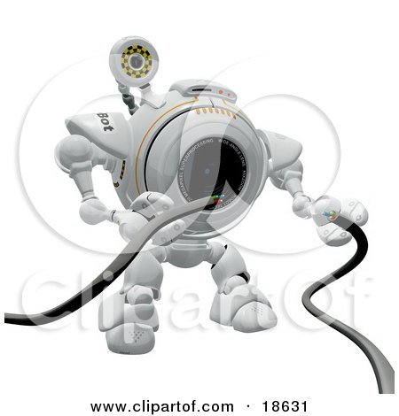 Clipart Illustration of a Robo Cam Repairing Broken Cords by Leo Blanchette