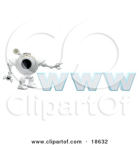 Clipart Illustration of a Robotic Cam Standing Beside WWW, a Secure Website by Leo Blanchette