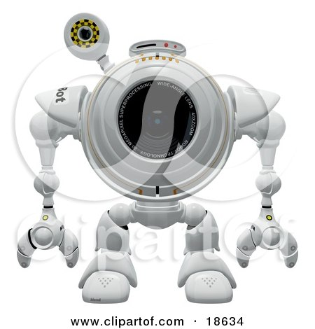 Clipart Illustration of a Robo Cam Facing Front, Waiting For Spyware or a Virus to Attack by Leo Blanchette
