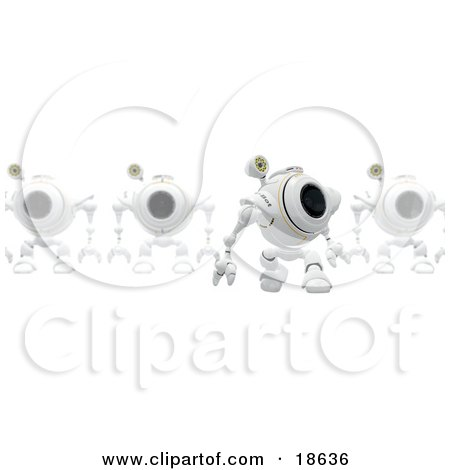 Clipart Illustration of a Leader Robo Cam In Front Of A Line Of Others, Perhaps Defending A Computer Against Spyware by Leo Blanchette