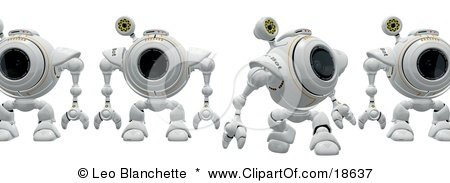 Clipart Illustration of a Line Of Robotic Cams Walking Behind Another, Symbolizing Backup And Anti-Spyware by Leo Blanchette