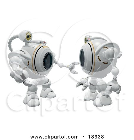 Clipart Illustration of Two Robo Cams Interacting and Discussing by Leo Blanchette