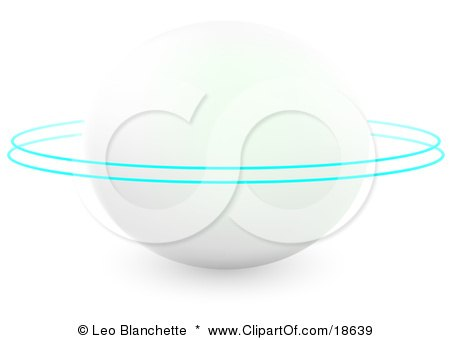 Clipart Illustration of a White Planet With Two Blue Rings Circling Around It by Leo Blanchette