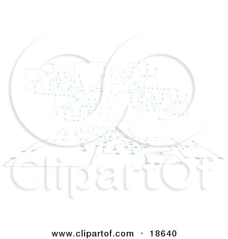 Clipart Illustration of a Circuit Board Background With Lines and Dots by Leo Blanchette