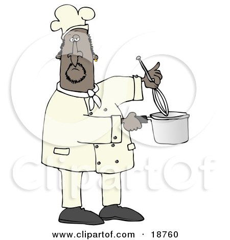 Clipart Illustration Of A Black Male Chef Stirring Food In A Pot With A Whisk
