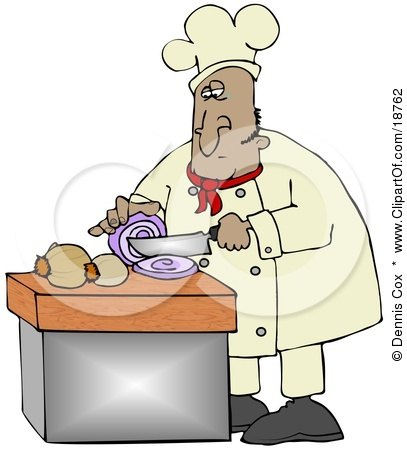 Clipart Illustration of a Mexican Male Chef Crying While Slicing Purple Onions by djart