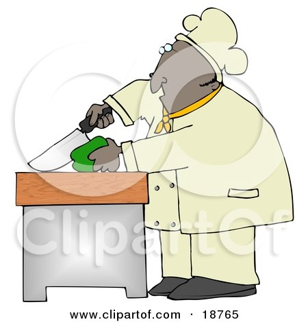 Black Male Chef Carefully Slicing a Green Bell Pepper Posters, Art Prints