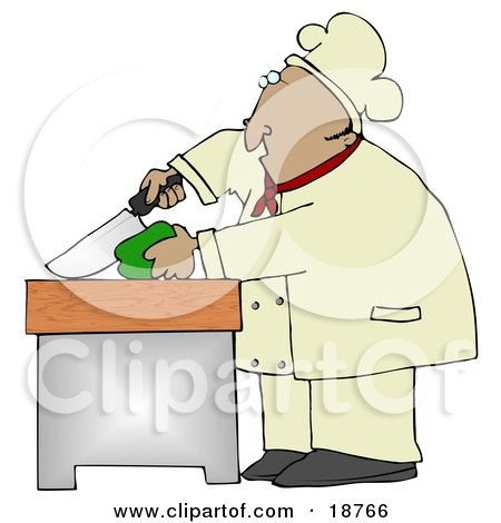 Clipart Illustration Of A Mexican Male Chef Carefully Slicing A Green Bell Pepper