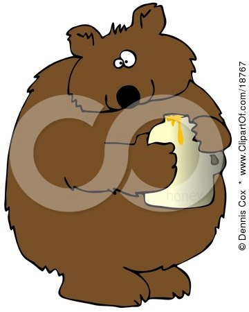 Wild Brown Bear Holding A Honey Jar And Looking At The Viewer After Being Caught Stealing Posters, Art Prints