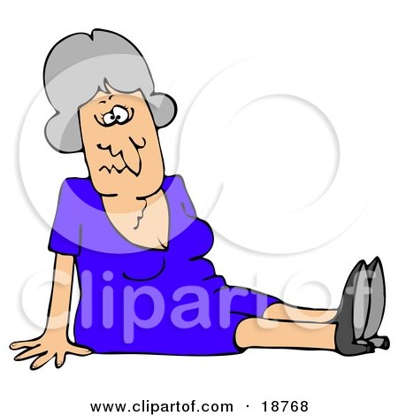 Clipart Illustration of a Gray Haired Lady In A Blue Dress, Dazed And Confused, Sitting On The Floor After Taking A Nasty Fall And Injuring Herself At The Office by djart