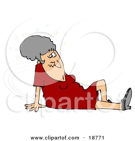 Clipart Illustration of a Gray Haired Lady In A Red Dress, Seeing Stars And Sitting On The Floor After Taking A Nasty Fall And Injuring Herself At The Office by djart