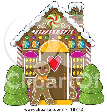 Christmas Gingerbread House Cartoon.Gingerbread Cookie Man Standing Between Bushes In Front Of A