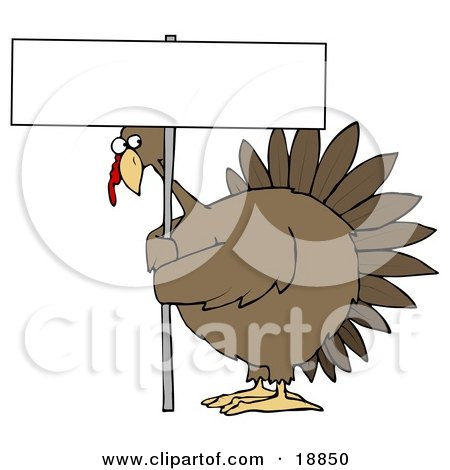 Clipart Illustration of a Plump Brown Turkey Bird On A Farm, Looking Nervously Around The Pole Of A Blank Sign That He's Holding by djart