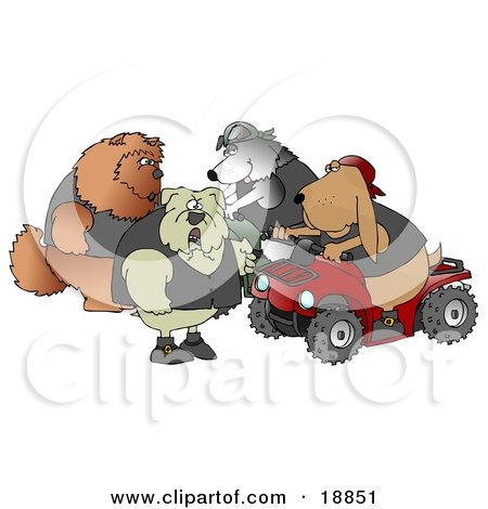 Clip Art Graphic of a Border Collie Wearing A Vest And Driving A Green Atv Beside A Bloodhound On A Red Quad, Chatting With A Tough Bulldog And Chow Chow by djart