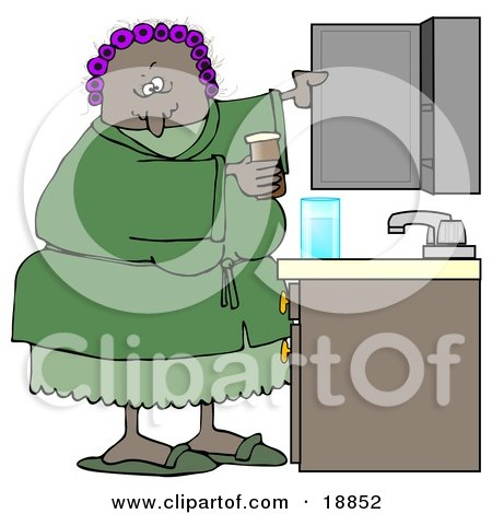 Clipart Illustration of a Black Woman With Her Hair In Purple Curlers, Wearing A Green Robe And Pjs, Putting Medicine Back In The Cabinet In Her Bathroom by djart