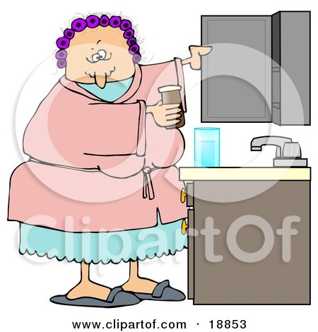 Clipart Illustration of a White Woman With Her Hair In Purple Curlers, Wearing A Pink Robe And Pjs, Putting Medicine Back In The Cabinet In Her Bathroom by djart