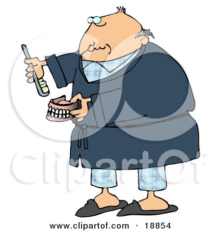 Clipart Illustration of an Old Balding White Man In Blue Pjs And A Robe, Putting Glue On Or Brushing His False Teeth And Dentures by djart