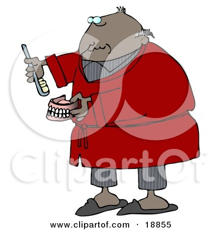 Old Balding Black Man In Gray Pjs And A Red Robe, Putting Glue On Or Brushing His False Teeth And Dentures Posters, Art Prints
