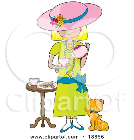 Clipart Illustration Cute Little Blond Caucasian Girl Dressed In Her Mother's Clothes And Pouring A Cup Of Tea Into A Cup While A Marmalade Cat Looks Up At Her, Waiting For A Treat by Maria Bell
