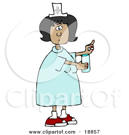 Clipart Illustration of a Female Latina Nurse In A Blue Dress, Holding A Glass Of Water And A Pill For A Patient In A Hospital by djart