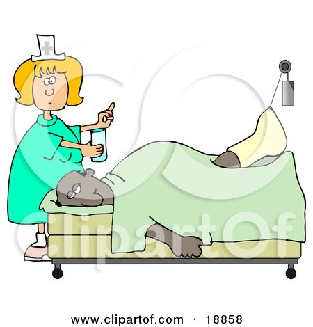 Clipart Illustration of a Female Caucasian Nurse In A Green Dress, Holding A Glass Of Water And A Pill For An Injured African American Patient With His Foot Up In A Traction by djart