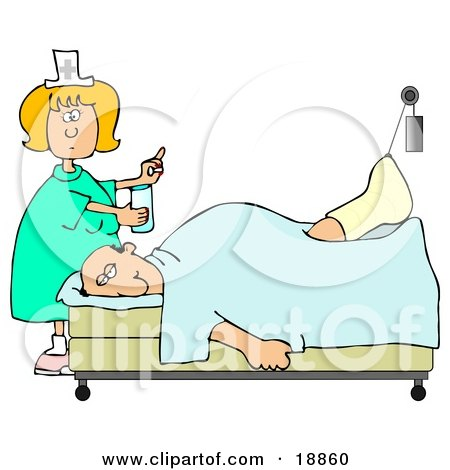 Clipart Illustration of a Female Caucasian Nurse In A Green Dress, Holding A Glass Of Water And A Pill For An Injured Caucasian Patient With His Foot Up In A Traction by djart