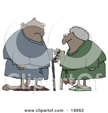 Clipart Illustration of a Saggy Old African American Couple Wearing Robes, Using Canes by djart