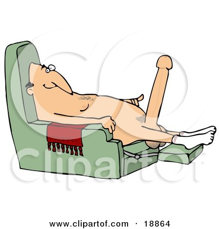 Clipart Illustration of an Excited Old Caucasian Man With A Hardon, Sitting In A Chair And Wearing Only Socks by djart