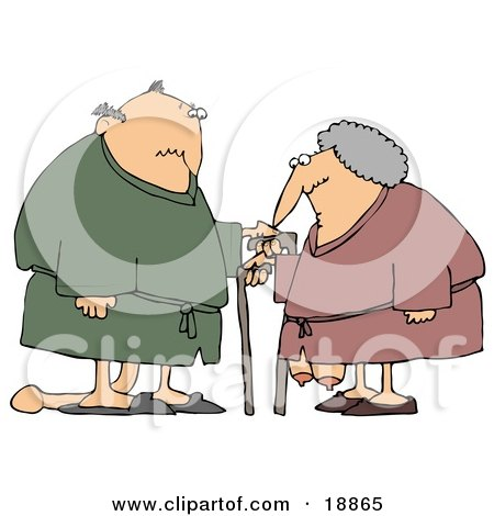 Saggy Old Caucasian Couple Wearing Robes, Using Canes Posters, Art Prints