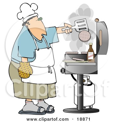Clipart Illustration of a Caucasian Man Cooking Hamburger Patties On A Gas Grill At A Barbecue Party by djart