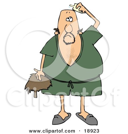 Clipart Illustration of a Caucasian Man Wearing A Green Robe And Slippers, Applying Hairpiece Glue On Top Of His Bald Head To Make His Toupee Stay by djart