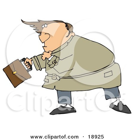 Clipart Illustration of a Nervous Caucasian Man Looking Upwards As High Winds Nearly Blow The Hairpiece Off Of His Bald Head by djart
