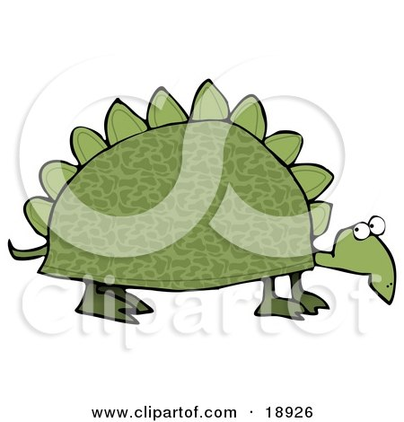 Clipart Illustration of a Green Dinosaur Like Tortoise With Spikes On His Shell by djart