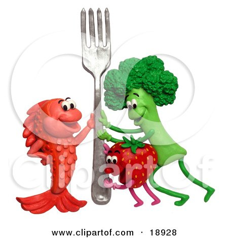 Clay Sculpture Clipart Broccoli Strawberry And Fish Holding Up A Fork - Royalty Free 3d Illustration  by Amy Vangsgard