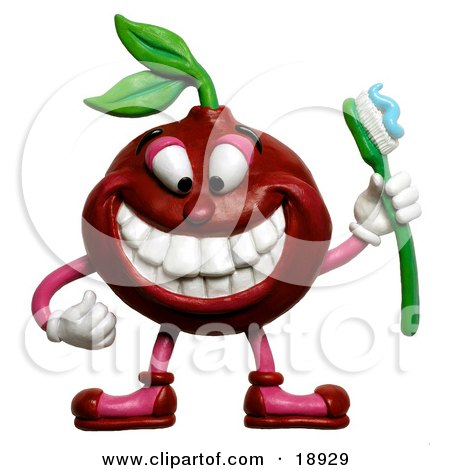 Clay Sculpture Clipart Cherry Holding A Toothbrush And Smiling Royalty Free 3d Illustration
