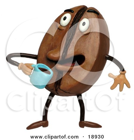 Clay Sculpture Clipart Coffee Bean Drinking Java Royalty Free 3d Illustration