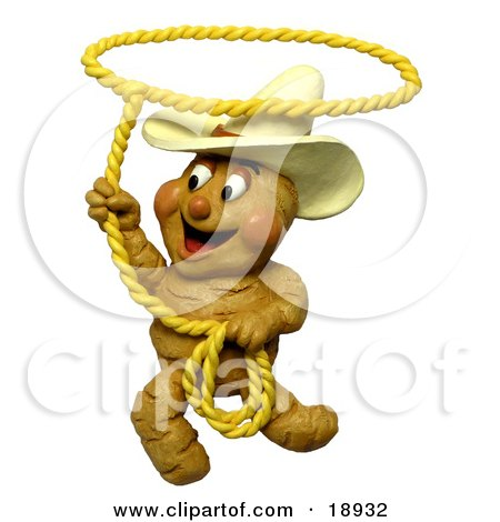 Clay Sculpture Clipart Ginger Root Cowboy Swinging A Lasso - Royalty Free 3d Illustration  by Amy Vangsgard