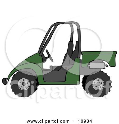 Clipart Illustration of a Dark Green UTV Truck by djart