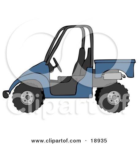 Clipart Illustration of a Boyish Blue UTV Truck by djart