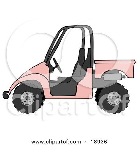 Clipart Illustration of a Girly Pink UTV Truck by djart
