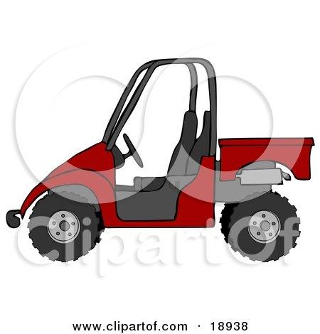 Clipart Illustration of a Bold Red UTV Truck by djart