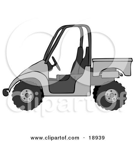 Clipart Illustration of a Silver or Gray UTV Truck by djart