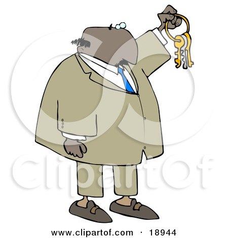 Clipart Illustration of a Bald Black Businessman Holding Up Keys On A Ring by djart