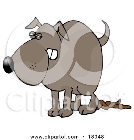 Clipart Illustration of a Revengeful Dog Pooping on the Floor by djart