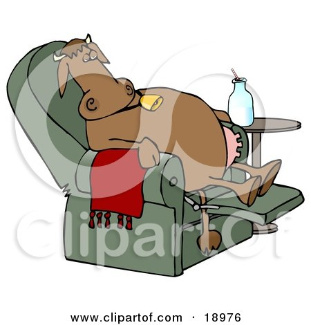 Clipart Illustration of an Exhausted Brown Cow Kicked Back, Reclined And Relaxing In A Green Lazy Chair With A Bottle Of Milk Beside Him, Winding Down After A Long Day Of Work At The Dairy Farm by djart