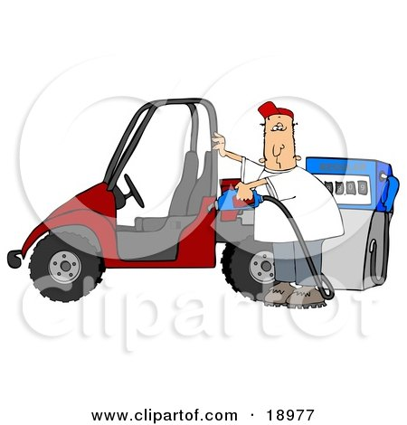 Clipart Illustration of a White Man Wearing A Red Hat, Standing Beside A Red Utv And Filling It Up With Regular Fuel At A Gas Station by djart