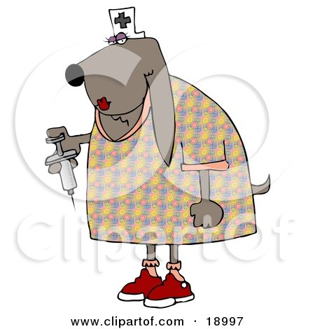 Female Bloodhound Dog Nurse Wearing A White Hat With A Cross And Holding A Syringe With Medicine Inside Posters, Art Prints
