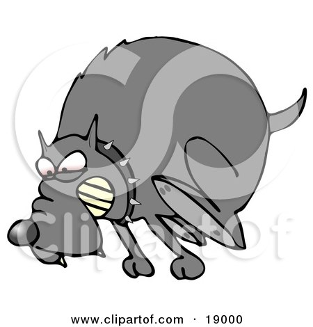 Clipart Illustration of a Mad Dog In The Red Zone, Wearing A Spiked Collar And Chasing An Intruder Away by djart
