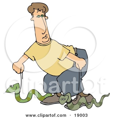Green Cobra Snake Baring its Fangs and Forked Tongue Clipart Picture ...