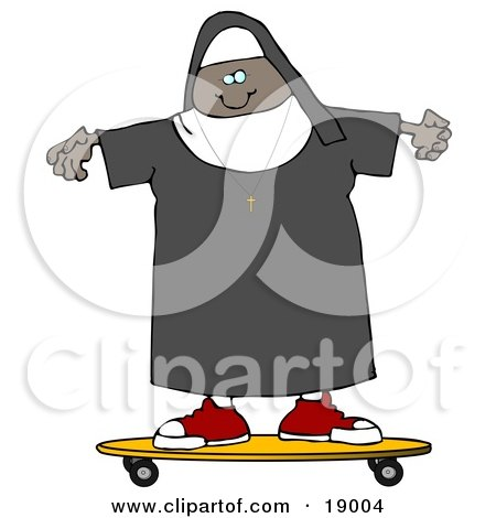 Clipart Illustration of a Cool Black Female Nun Riding a SKateboard by djart